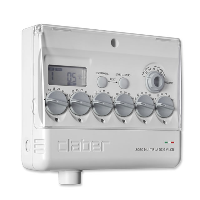 Claber 8060 - Multipla, 6 zónová řídící jednotka 9V, LCD