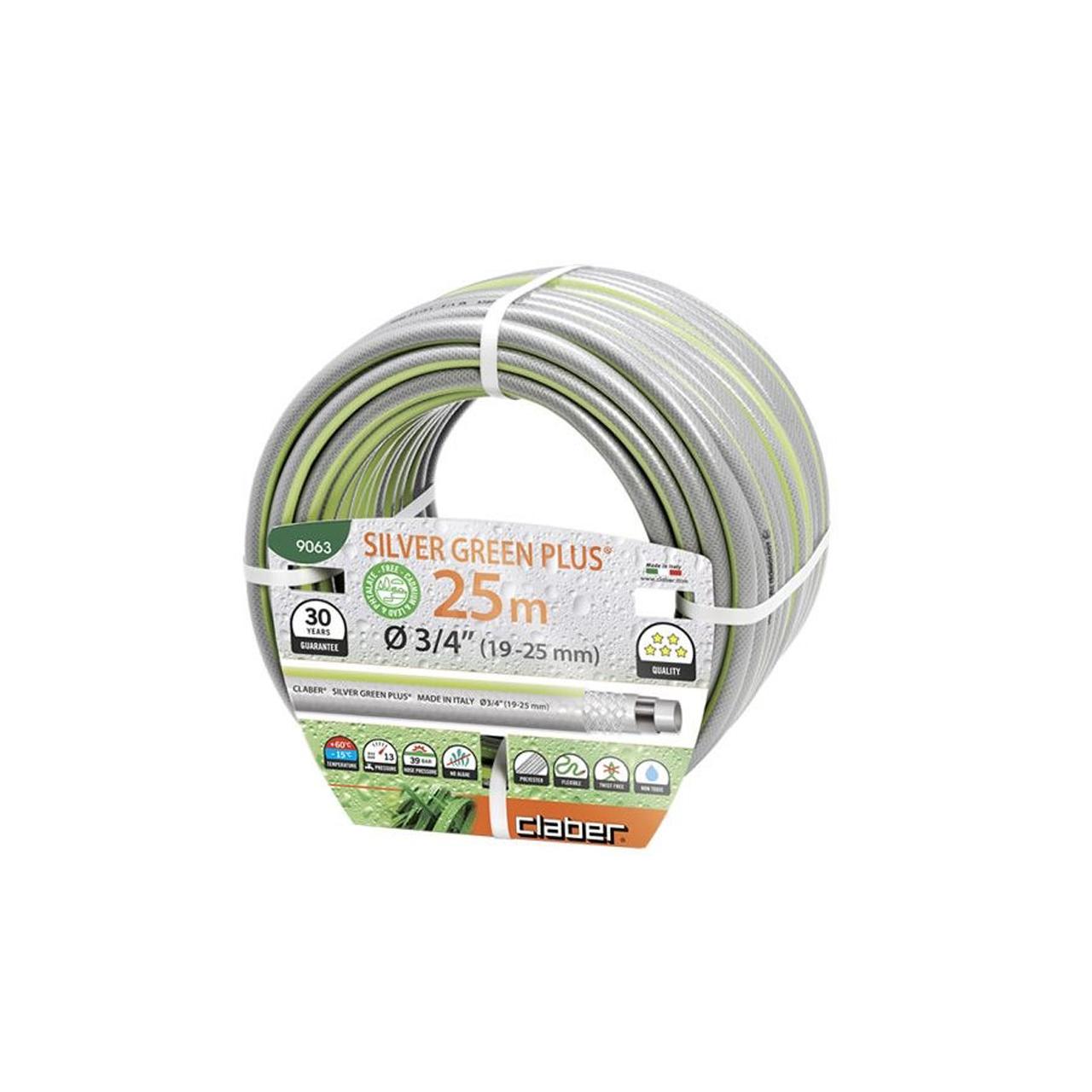 """Claber 9063 - zahradní hadice Silver green Plus 3/4"""" - 25m"""
